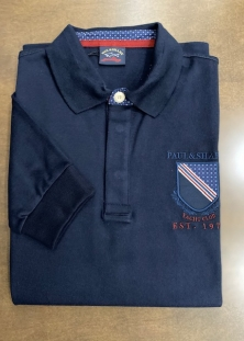 PAUL & SHARK POLO PURE COTON ITALIEN, MANCHES LONGUES, MARINE, 335$