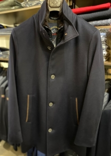 PAUL & SHARK MANTEAU PURE CASHMERE ITALIEN, COL FOURRURE DÉTACHABLE, 2135$