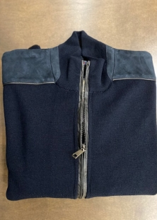 PAUL & SHARK CARDIGAN-JACKET MARINE AVEC BORDUES CUIR NAPPA, 675$